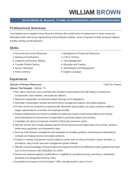Director of Human Resources resume format Texas
