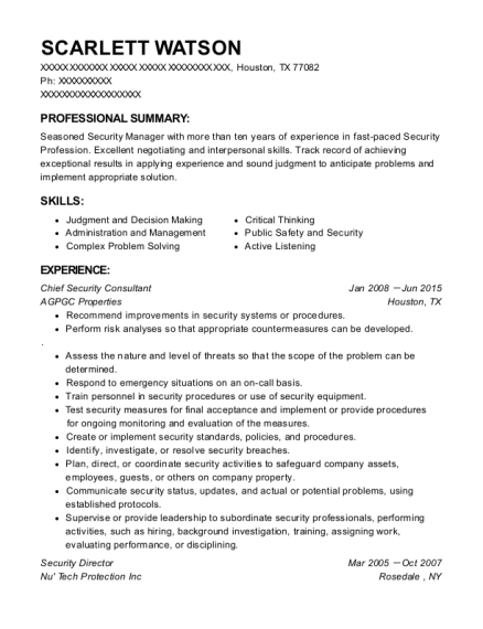 progress physical therapy security director resume sample