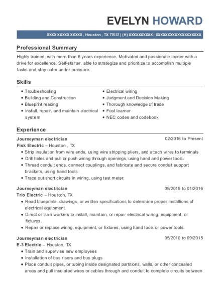Journeyman electrician resume format Texas