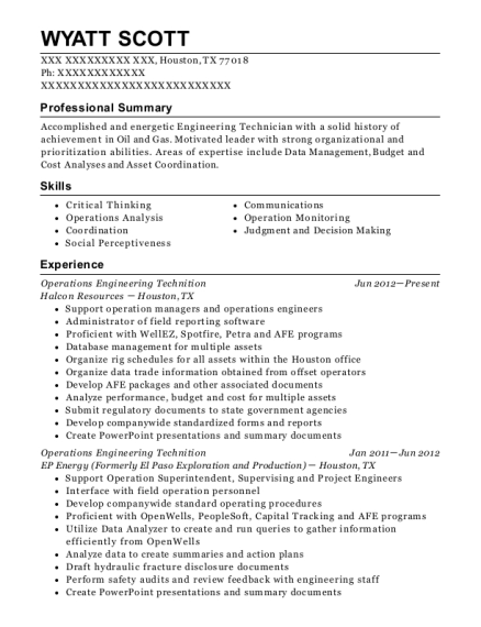 Operations Engineering Technition resume sample Texas