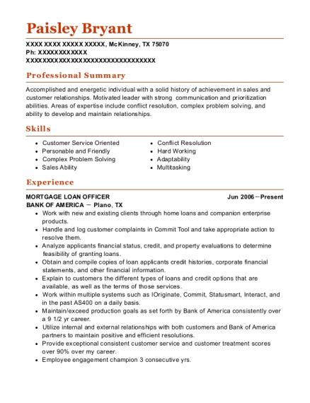 MORTGAGE LOAN OFFICER resume format Texas