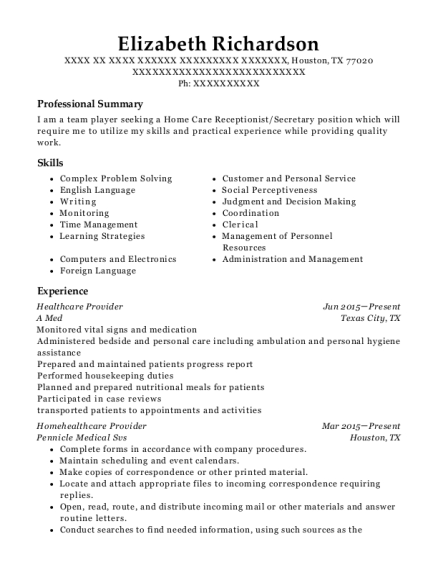 Healthcare Provider resume template Texas