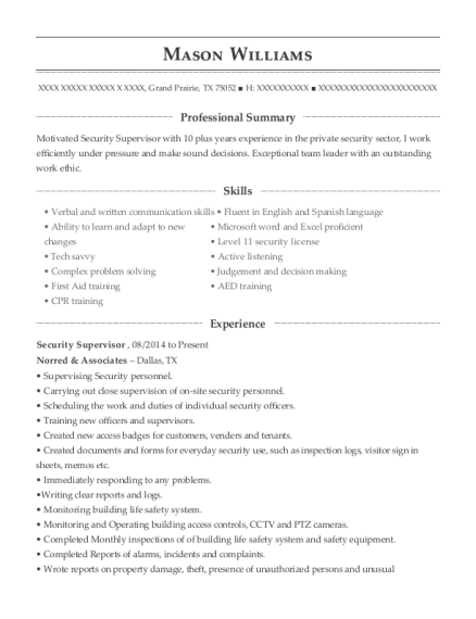 Security Supervisor resume format Texas