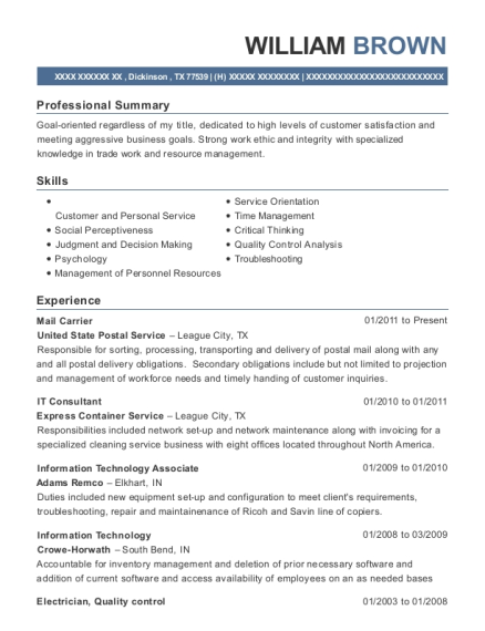 Mail Carrier resume format Texas
