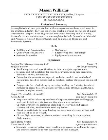 safway scaffolding scaffold builder resume sample