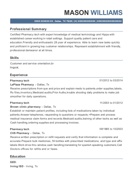 Pharmacy tech resume template Texas