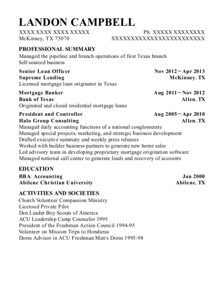 Residential Mortgage Loan Officer resume example Texas