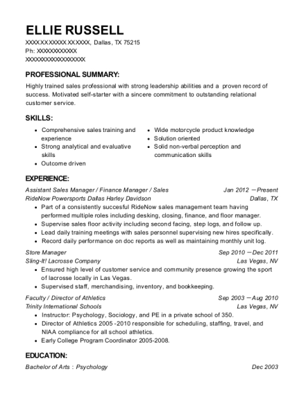 Assistant Sales Manager resume template Texas