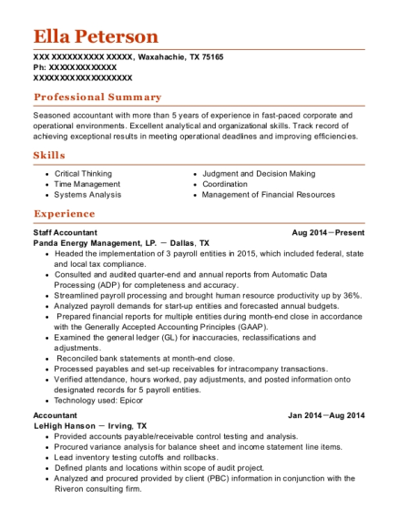 Staff Accountant resume template Texas