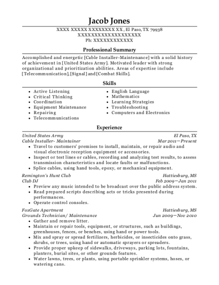 Cable Installer Maintainer resume sample Texas