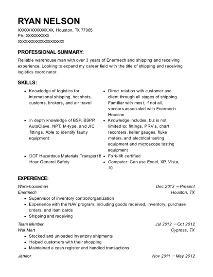 Ware houseman resume format Texas