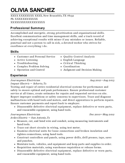 Journeyman Electrician resume example Texas