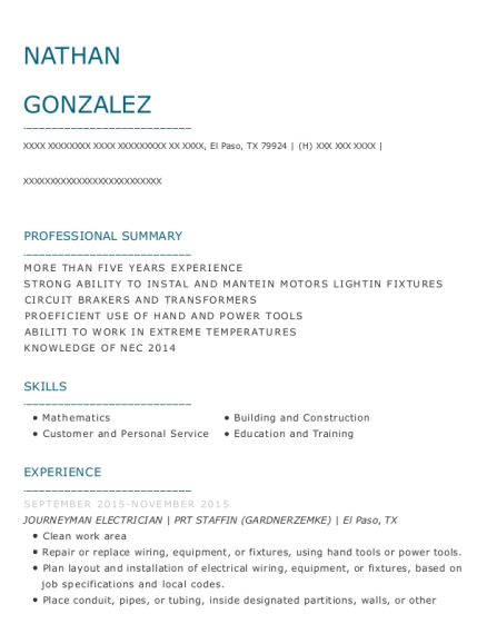 JOURNEYMAN ELECTRICIAN resume sample Texas