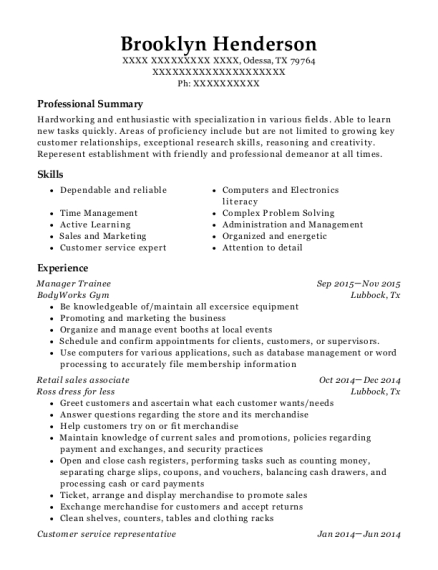 Manager Trainee resume sample Texas