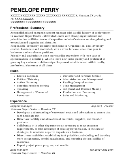 Support manager resume sample Texas