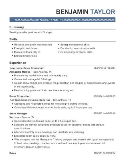 New Home Sales Consultant resume format Texas