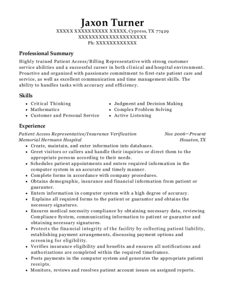 Patient Access Representative resume template Texas
