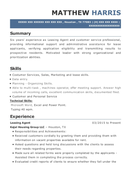 Leasing Agent resume template Texas