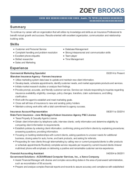 Commercial Marketing Specialist resume example Texas