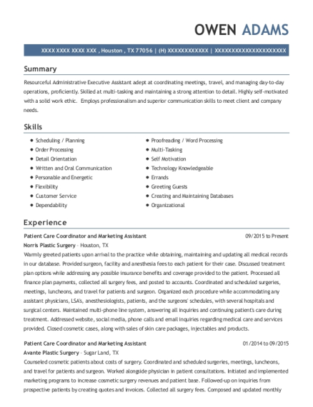 Patient Care Coordinator and Marketing Assistant resume example Texas
