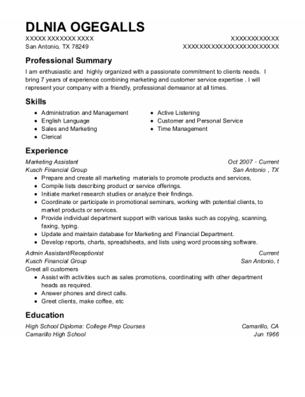 Marketing Assistant resume sample Texas