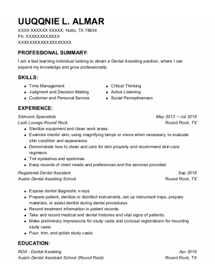 Skincare Specialists resume example Texas