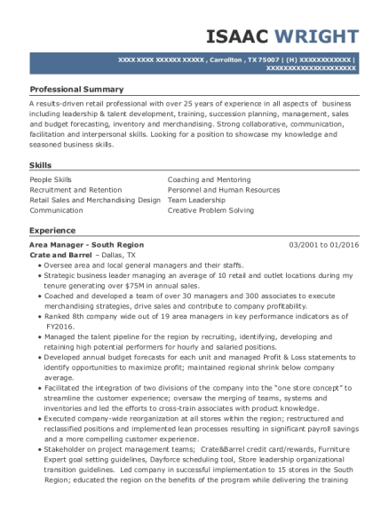 Area Manager South Region resume example Texas
