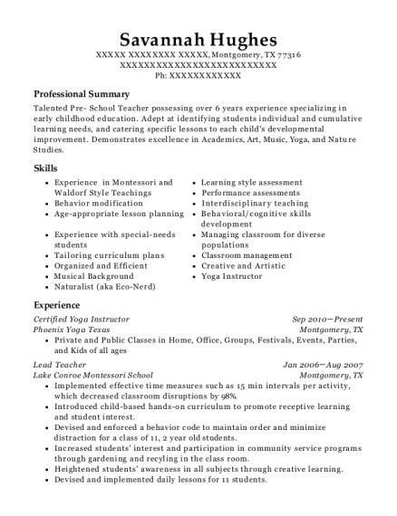 Certified Yoga Instructor resume format Texas