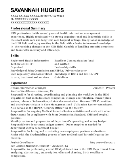 Health Information Manager resume example Texas