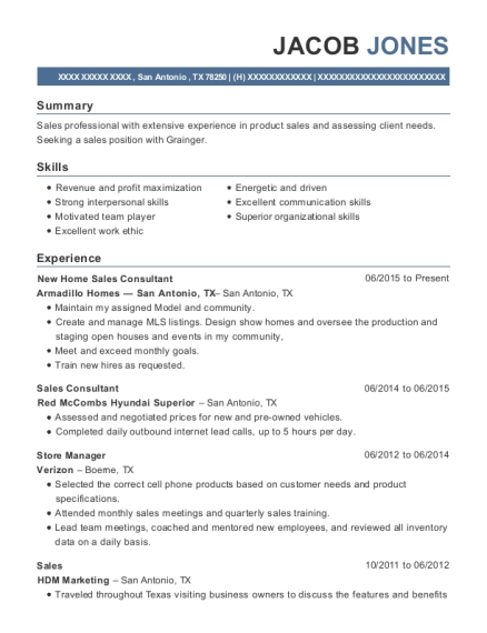 New Home Sales Consultant resume template Texas