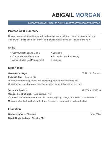 Materials Manager resume example Texas