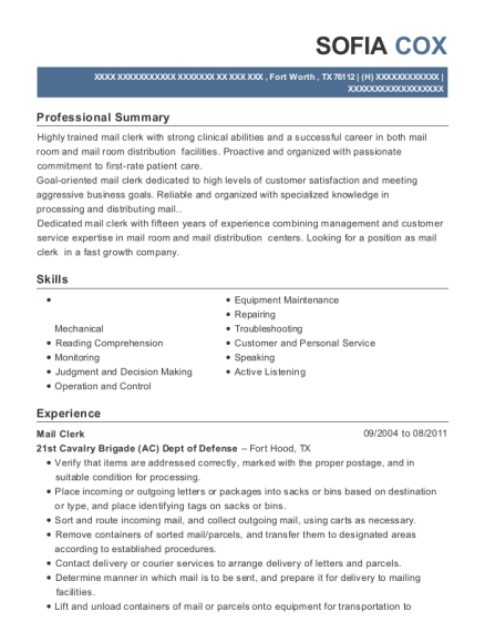 Mail Clerk resume template Texas