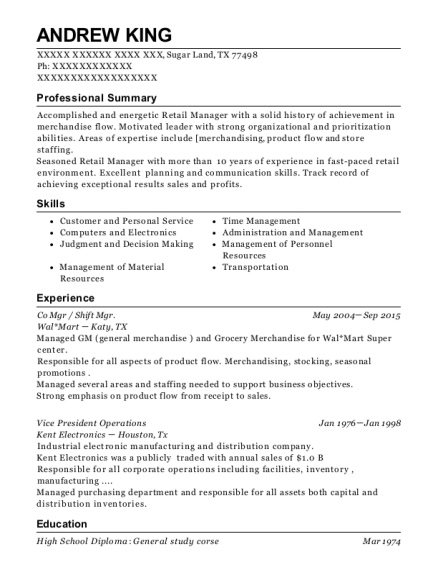 Co Mgr resume example Texas
