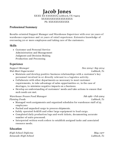 Support Manager resume template Texas