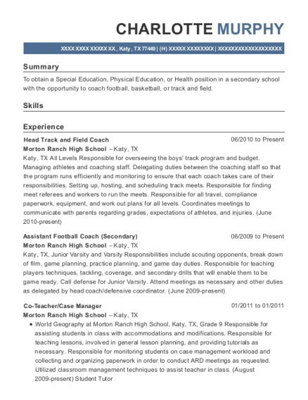 Head Track and Field Coach resume sample Texas