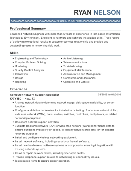 Computer Network Support Specialist resume sample Texas