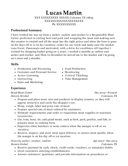 Head Meat Cutter resume example Texas