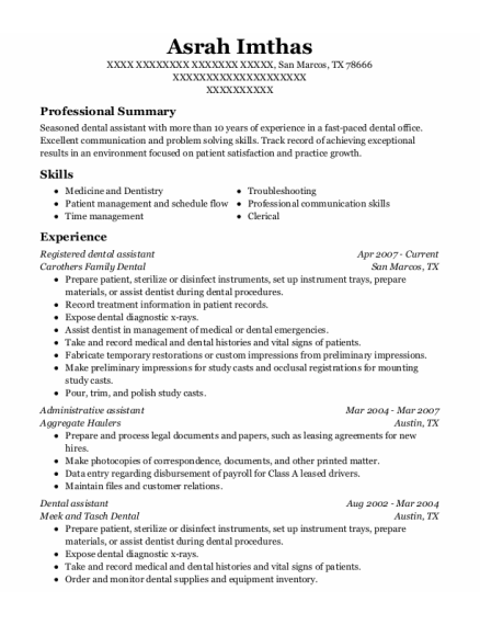 Registered dental assistant resume example Texas
