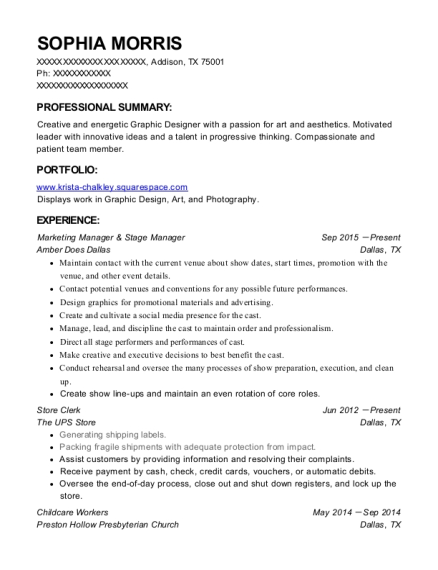 Marketing Manager & Stage Manager resume sample Texas