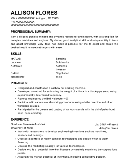 Graduate Research Assistant resume sample Texas