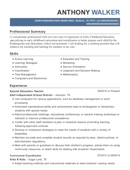 Special Education Teacher resume example Texas