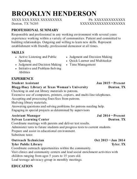 Student Assistant resume sample Texas