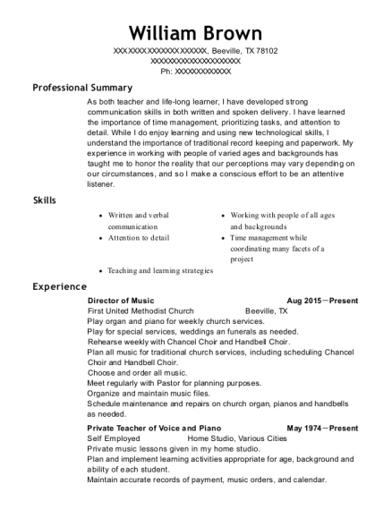 Director of Music resume format Texas