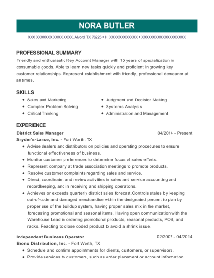 District Sales Manager resume sample Texas
