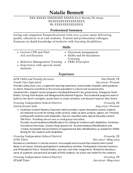 Youth Care Specialist resume template Texas