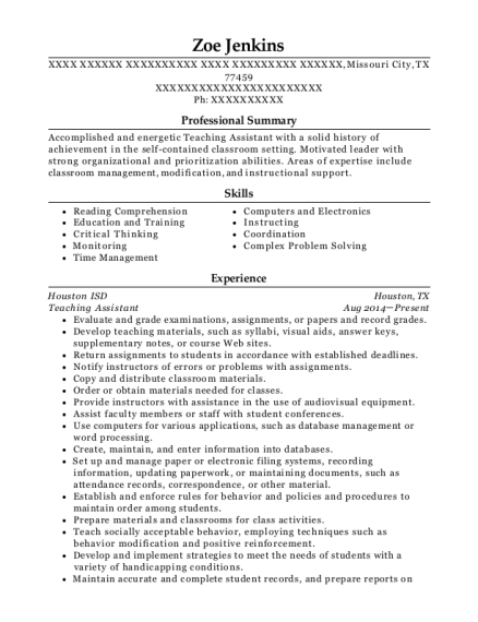 Teaching Assistant resume example Texas