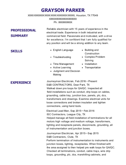Journeyman Electrician resume template Texas