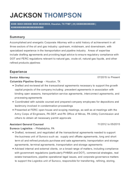 Senior Attorney resume format Texas