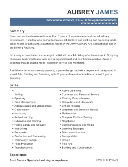 Food Service Specialist and degree exprience resume template Texas