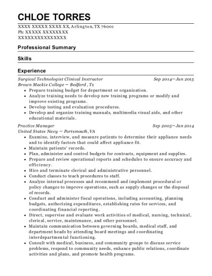 Surgical Technologist Clinical Instructor resume format Texas